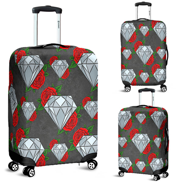 Diamond and Red Rose Luggage Cover