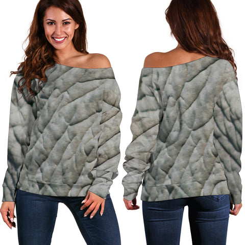 Women Teen Off Shoulder Sweater Animal Skin Texture 1-08