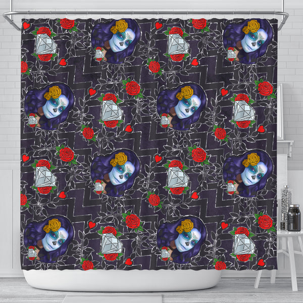 Sugar Skull Chevron Shower Curtain - STUDIO 11 COUTURE