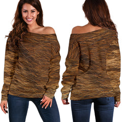 Women Teen Off Shoulder Sweater Animal Skin Texture 1-12