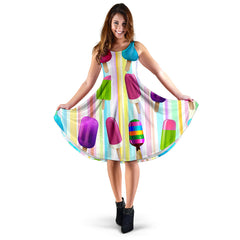 Women's Dress, No Sleeves, Custom Dress, Midi Dress, Ice Cream 1-07
