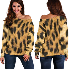 Women Teen Off Shoulder Sweater Animal Skin Texture 1-04
