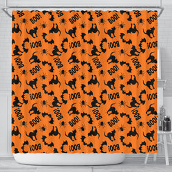 Black Cat Halloween Shower Curtain