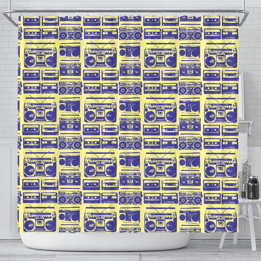 80s Boombox Shower Curtain - STUDIO 11 COUTURE