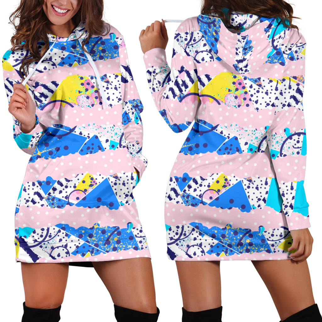 80s Twisted Fashion Girl Sexy Trendy Women Teen Long Sleeves Hoodie Dress Hooded Tunic