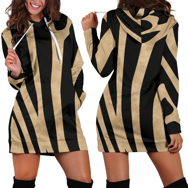 Studio11Couture Women Hoodie Dress Hooded Tunic Zebra Skin Athleisure Sweatshirt
