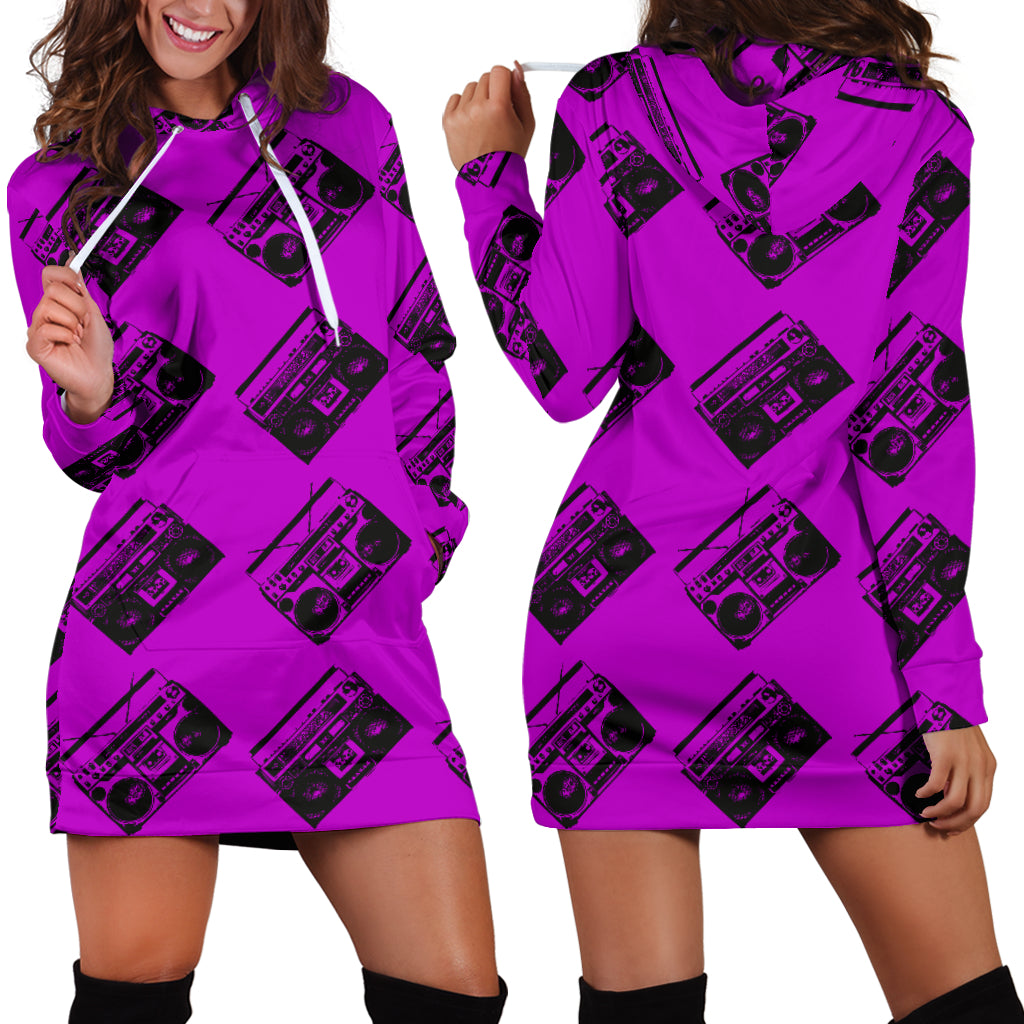 80s Violet Boombox Sexy Trendy Women Teen Long Sleeves Hoodie Dress Hooded Tunic