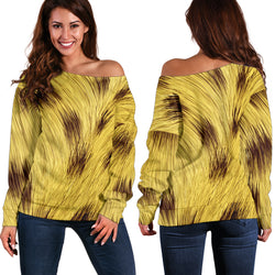Women Teen Off Shoulder Sweater Animal Skin Texture 1-01