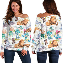 Women Teen Off Shoulder Sweater Wizard Of OZ 1-13