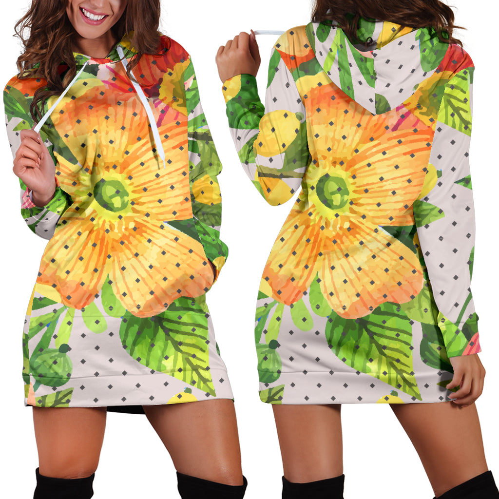 Amazing Floral Spring Women's Hoodie Dress
