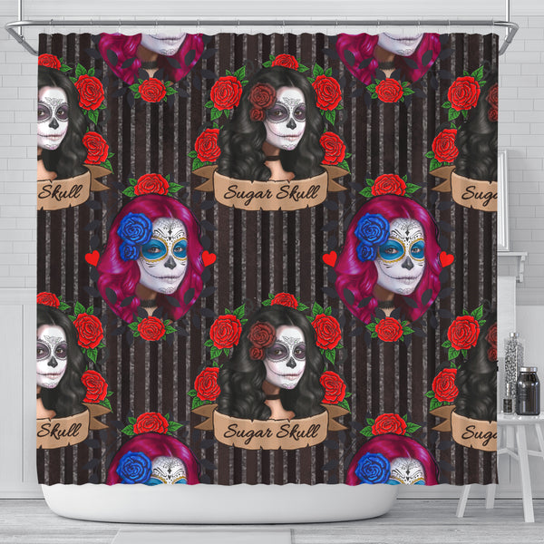 Sugar Skull Gothic Lolita Shower Curtain - STUDIO 11 COUTURE