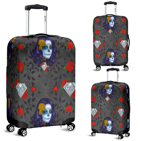 Sugar Skull Diamond Red Rose Luggage Cover