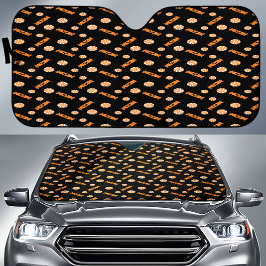 Trick or Treat Black Orange Candy Auto Sun Shades