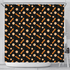 Orange Trick Or Treat Candy Shower Curtain - STUDIO 11 COUTURE