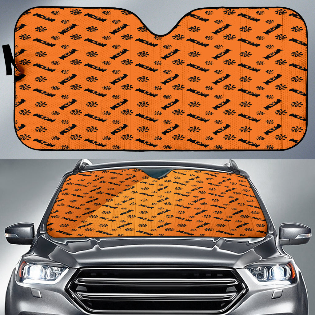 Trick or Treat Orange Black Candy Spooky Auto Sun Shades