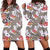 Studio11Couture Women Hoodie Dress Hooded Tunic Hurry Up White Rabbit Alice In Wonderland Athleisure Sweatshirt