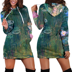 Studio11Couture Women Hoodie Dress Hooded Tunic Claude Monet Water Lilies Athleisure Sweatshirt