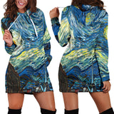 Women Hoodie Dress Hooded Tunic Vincent Van Gogh Starry Night Athleisure Sweatshirt