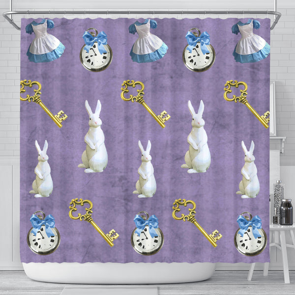 Keys And White Rabbit Alice In Wonderland Shower Curtain