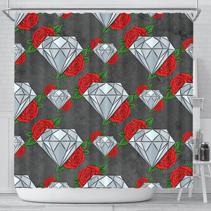 Diamond and Red Rose Shower Curtain