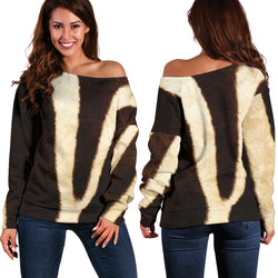 Women Teen Off Shoulder Sweater Animal Skin Texture 1-07