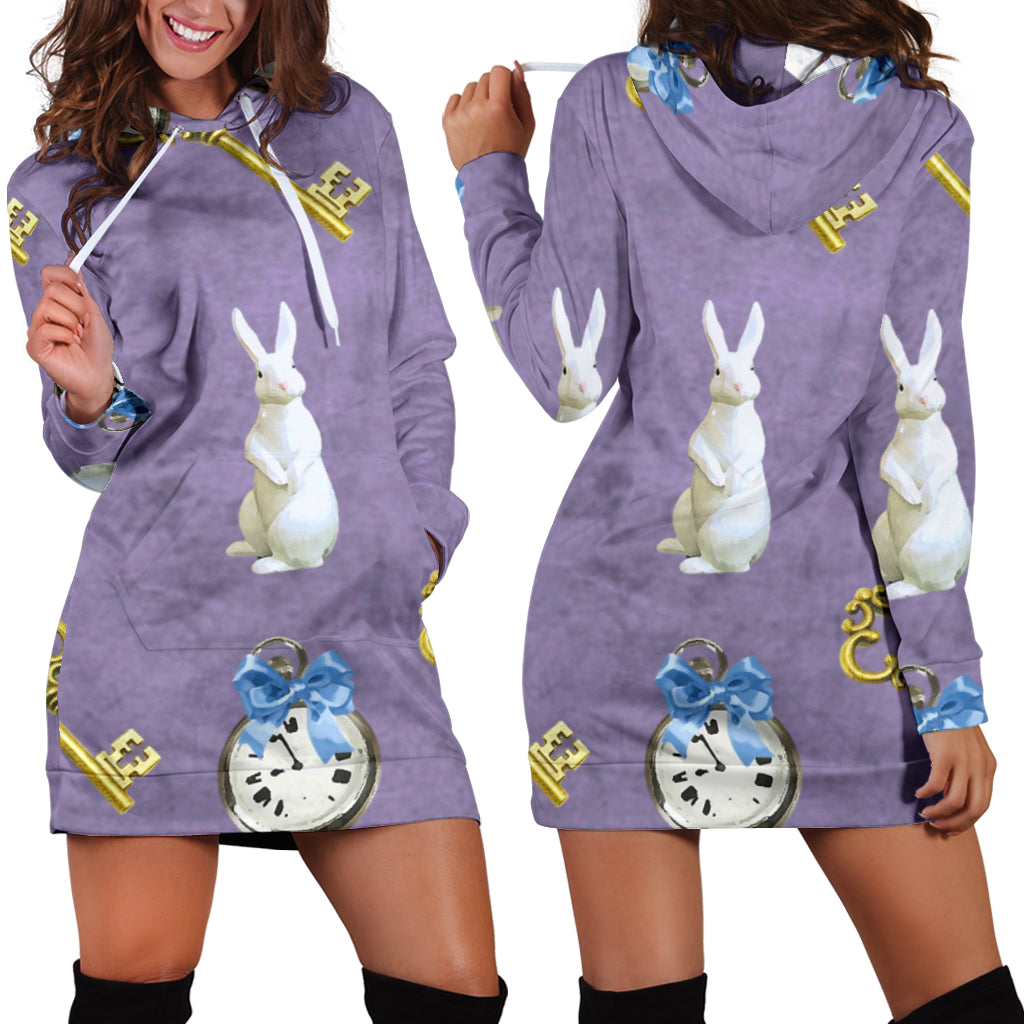 Studio11Couture Women Hoodie Dress Hooded Tunic Keys And White Rabbit Alice In Wonderland Athleisure Sweatshirt
