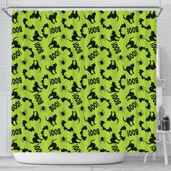 Black Cat Halloween Gothic Shower Curtain