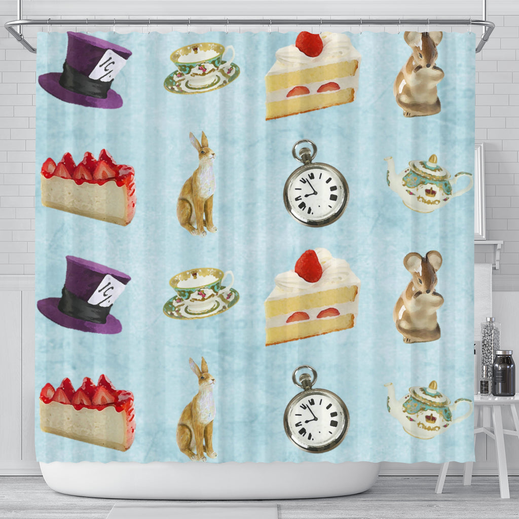 Cake And Watch Alice In Wonderland Shower Curtain