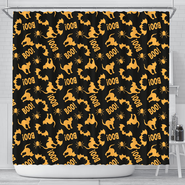 Orange Cat Halloween Shower Curtain - STUDIO 11 COUTURE