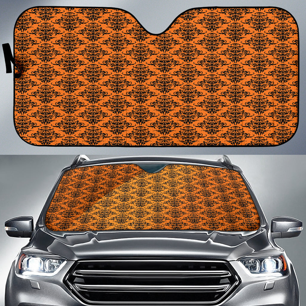 Trick or Treat Damask Halloween Gothic Auto Sun Shades
