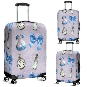 Cute Ribbon And Watch Alice In Wonderland Luggage Cover
