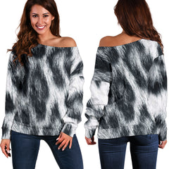 Women Teen Off Shoulder Sweater Animal Skin Texture 1-14