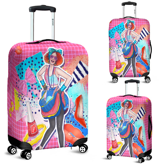 80s Fashion Girl 7 Luggage Cover - STUDIO 11 COUTURE