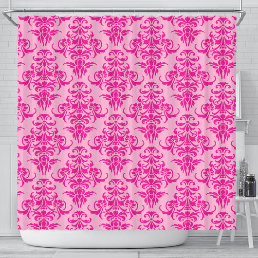 Pink Damask Shower Curtain - STUDIO 11 COUTURE