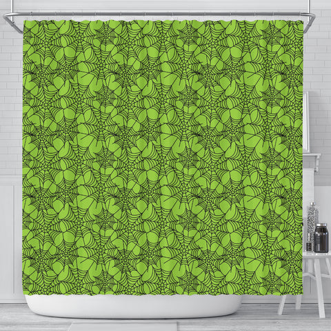 Green Spider Web Halloween Shower Curtain - STUDIO 11 COUTURE