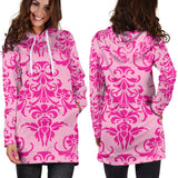 Studio11Couture Women Hoodie Dress Hooded Tunic Pink Damask Athleisure Sweatshirt