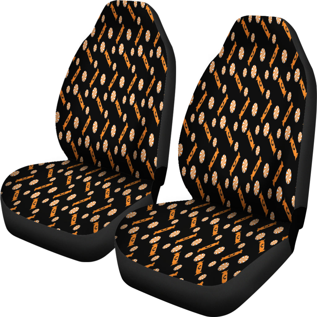 Trick or Treat Black Orange Candy Car Seat Covers