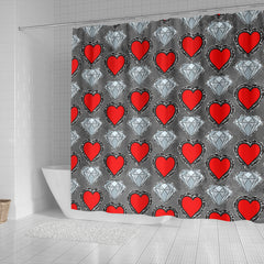Hearts and Diamonds Shower Curtain