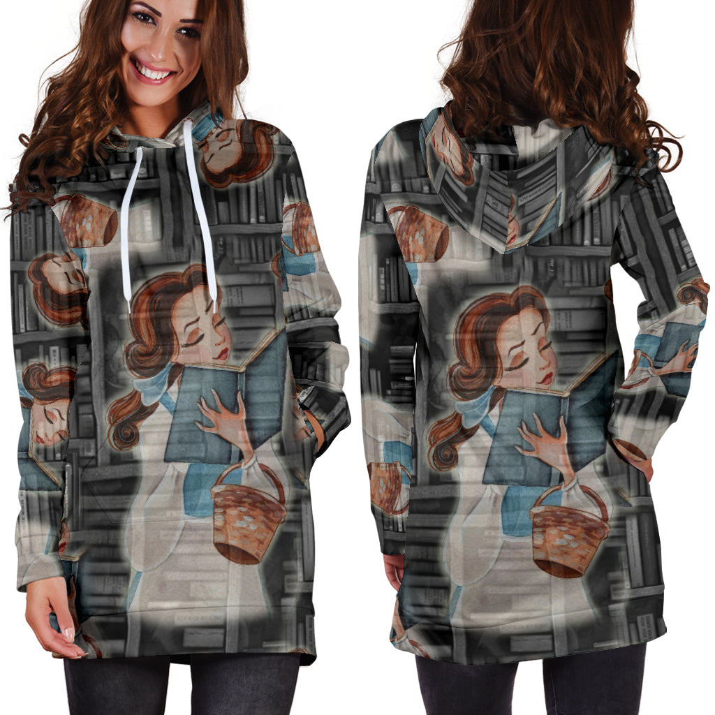 Studio11Couture Women Hoodie Dress Hooded Tunic Beauty And The Beast Bell Athleisure Sweatshirt