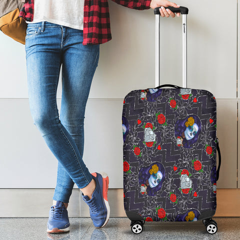 Sugar Skull Chevron Luggage Cover