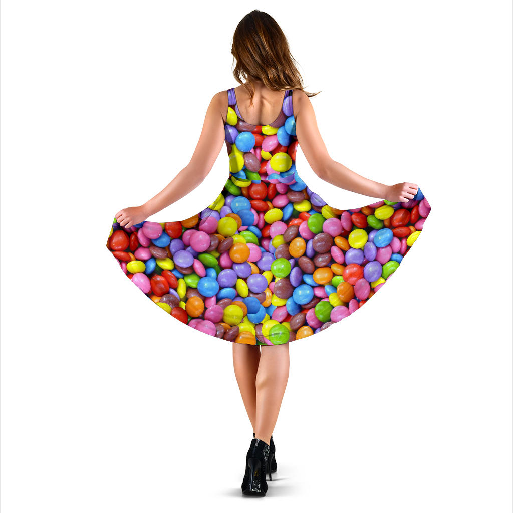 Women's Dress, No Sleeves, Custom Dress, Midi Dress, Candy 14
