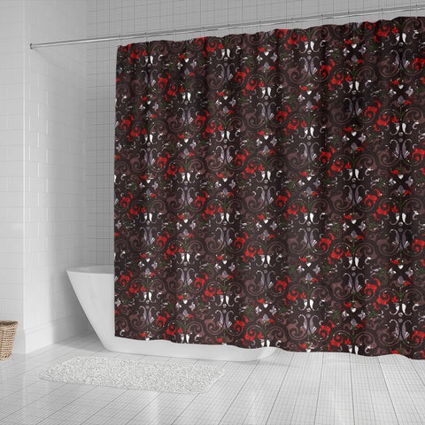 Gothic Lolita Damask Shower Curtain - STUDIO 11 COUTURE