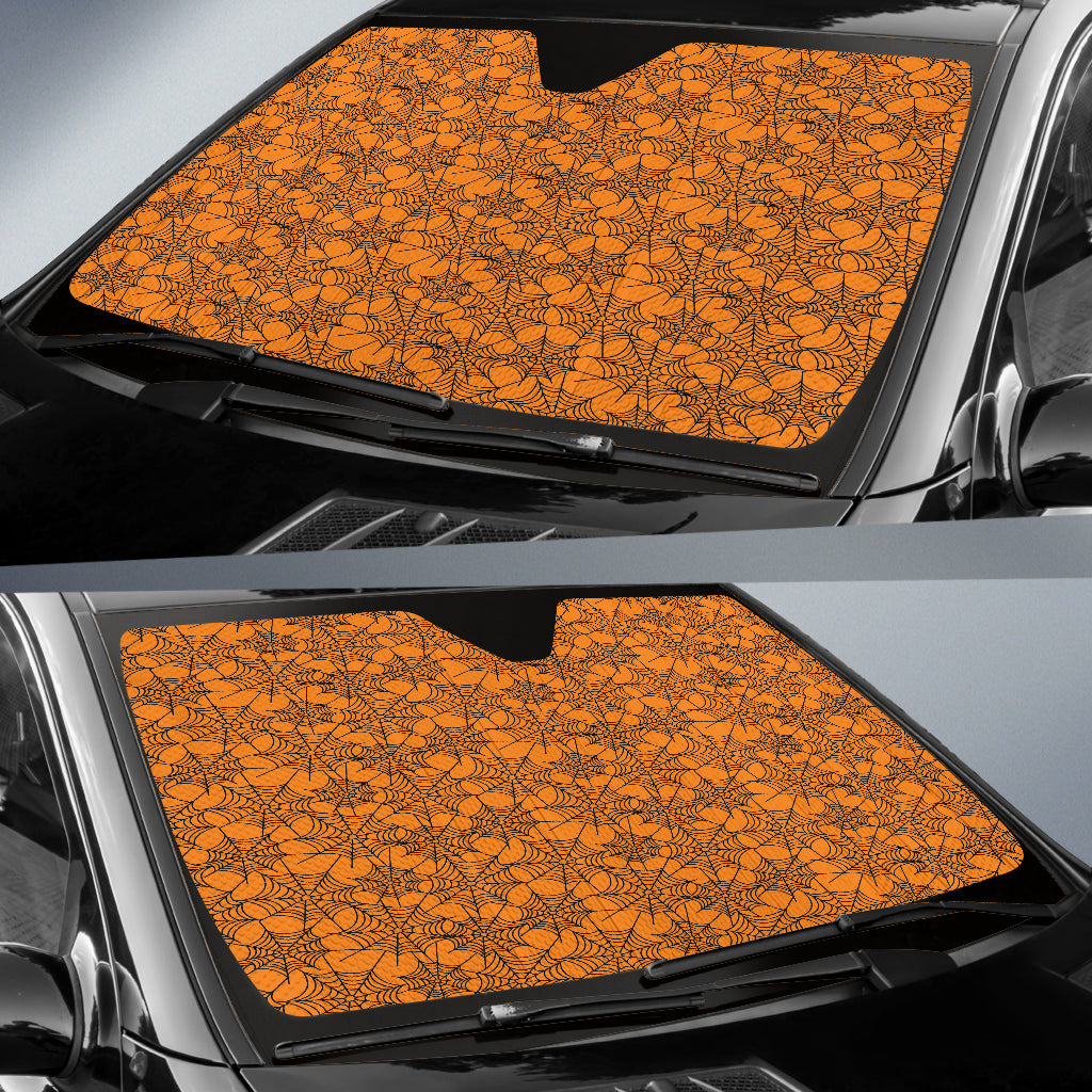 Trick or Treat Orange Spider Web Auto Sun Shades