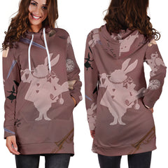 White Rabbit Alice In Wonderland Sexy Trendy Women Teen Long Sleeves Hoodie Dress Hooded Tunic
