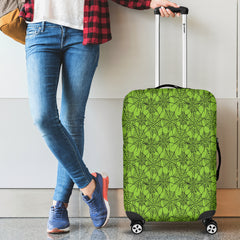 Green Spider Web Halloween Luggage Cover
