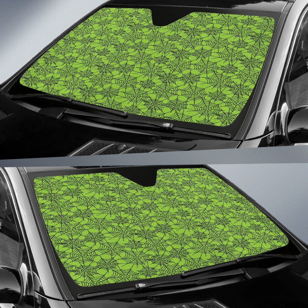 Trick or Treat Green Spider Web Auto Sun Shades