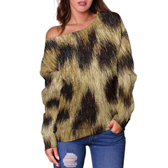 Women Teen Off Shoulder Sweater Animal Skin Texture 1-06