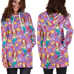 Under The Sea Purple Small Mermaid Women's Hoodie Dress
