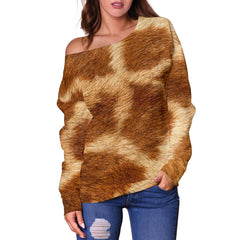 Women Teen Off Shoulder Sweater Animal Skin Texture 1-11