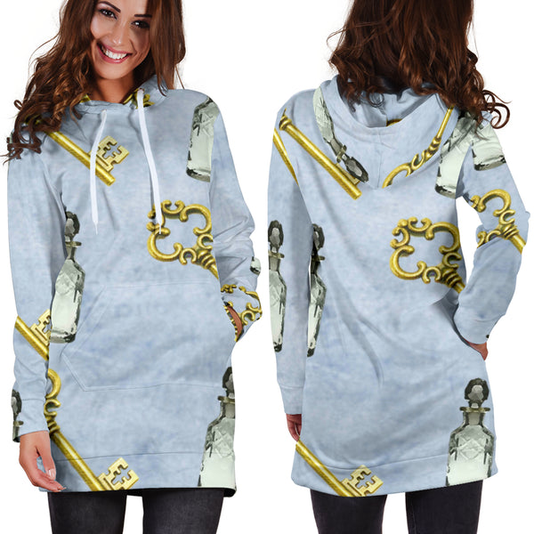Studio11Couture Women Hoodie Dress Hooded Tunic Keys and Drinks Alice In Wonderland Athleisure Sweatshirt